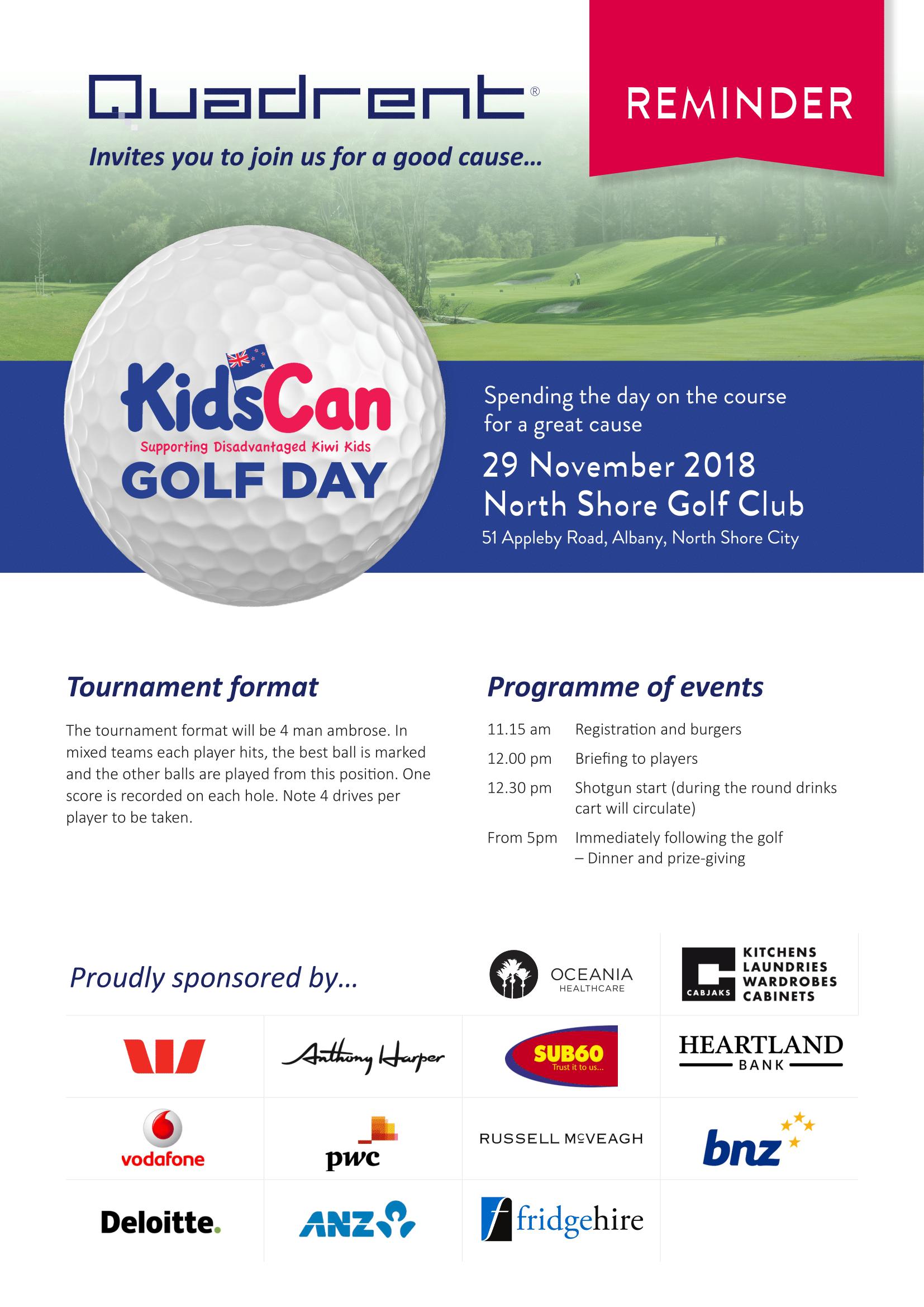 Quadrent Golf day reminder