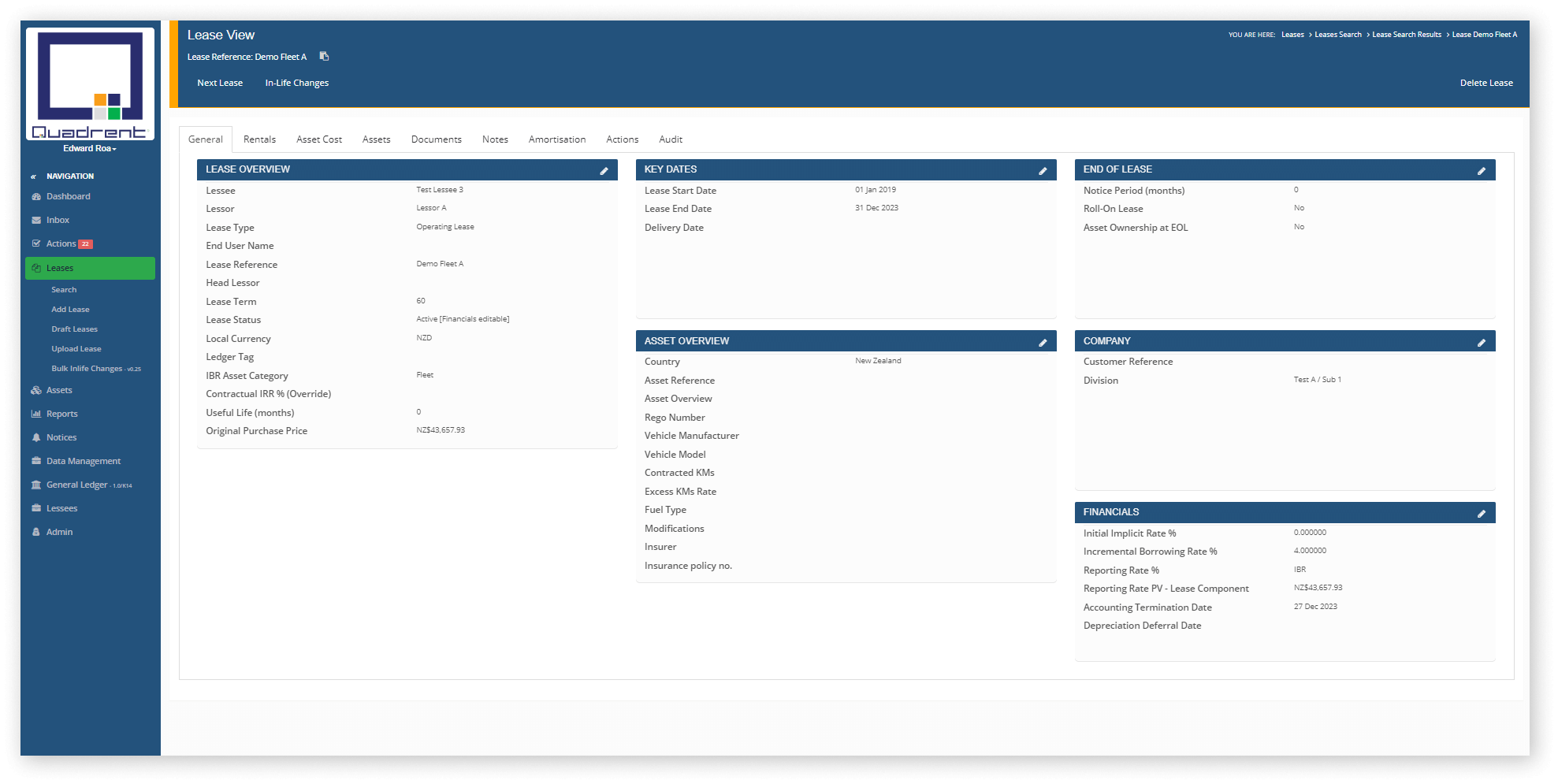 General tab in lease view